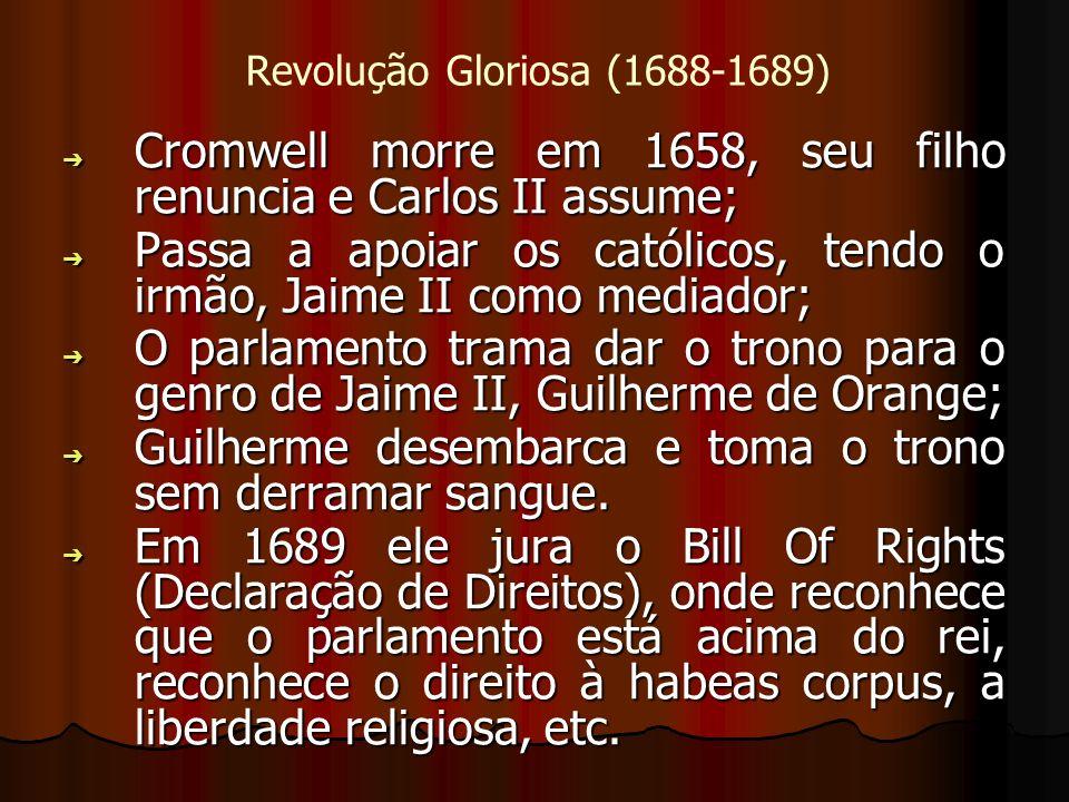 Revolução Gloriosa (1688-1689) Cromwell morre em 1658, seu filho renuncia e Carlos II assume; Cromwell morre em 1658, seu filho renuncia e Carlos II a