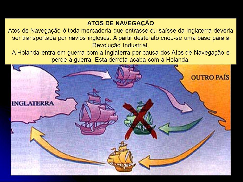 ATOS DE NAVEGAÇÃO Atos de Navegação ð toda mercadoria que entrasse ou saísse da Inglaterra deveria ser transportada por navios ingleses. A partir dest