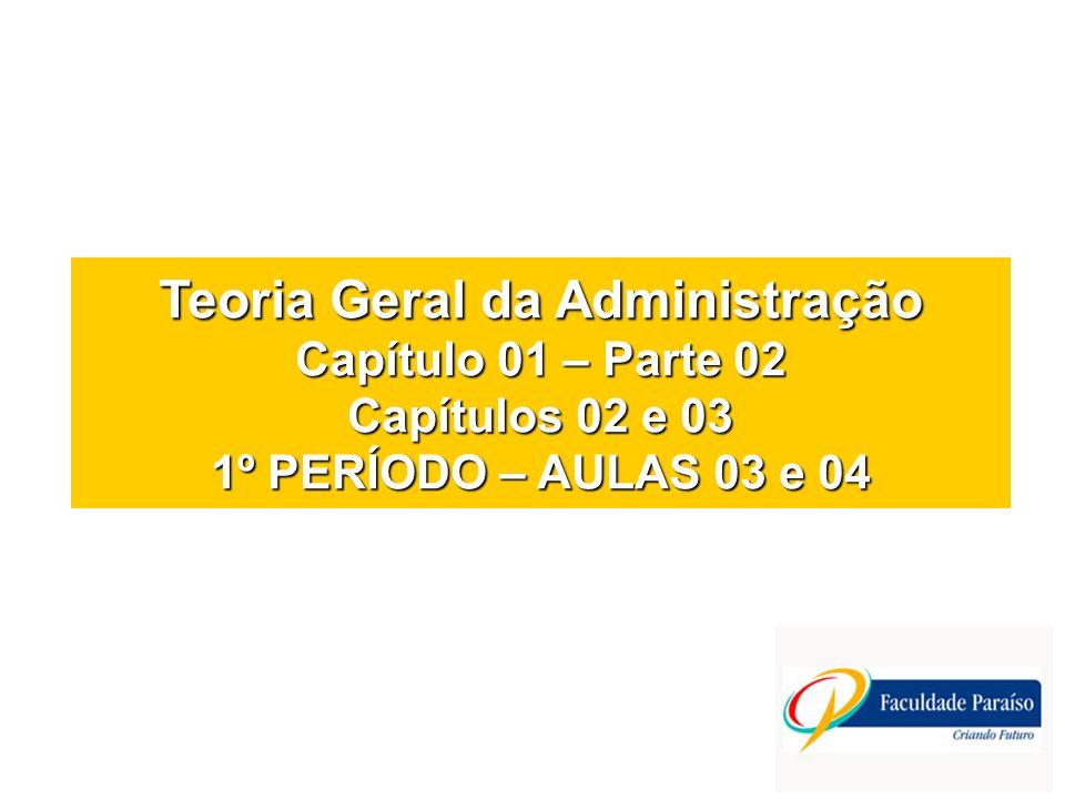 Teoria Geral da Administração Capítulo 01 – Parte 02 Capítulos 02 e 03 1º PERÍODO – AULAS 03 e 04