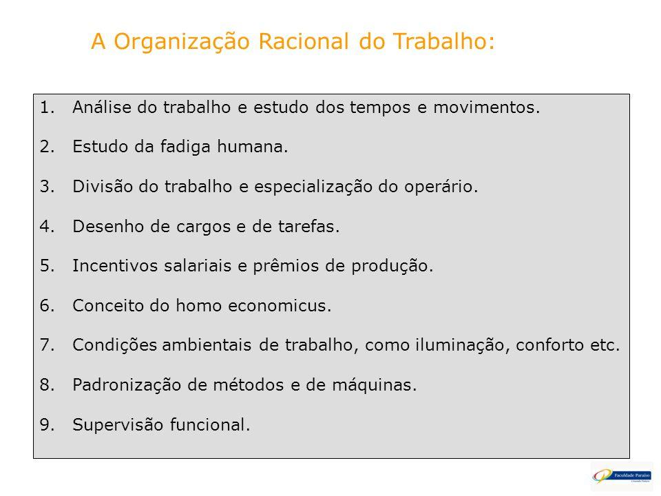 A Organização Racional do Trabalho: 1.Análise do trabalho e estudo dos tempos e movimentos. 2.Estudo da fadiga humana. 3.Divisão do trabalho e especia