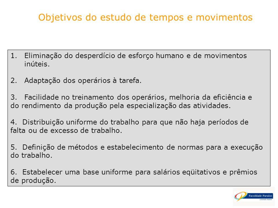 1.Eliminação do desperdício de esforço humano e de movimentos inúteis. 2.Adaptação dos operários à tarefa. 3.Facilidade no treinamento dos operários,