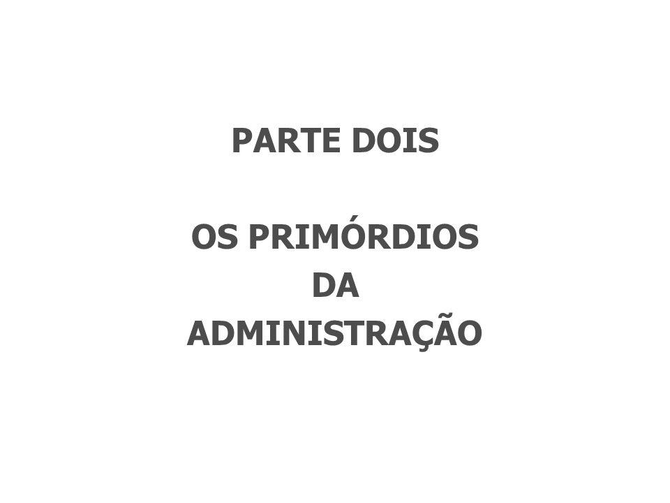 PARTE DOIS OS PRIMÓRDIOS DA ADMINISTRAÇÃO