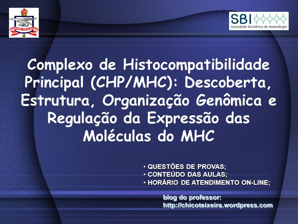 Complexo de Histocompatibilidade Principal (CHP/MHC): Descoberta, Estrutura, Organização Genômica e Regulação da Expressão das Moléculas do MHC blog do professor: http://chicoteixeira.wordpress.com QUESTÕES DE PROVAS; QUESTÕES DE PROVAS; CONTEÚDO DAS AULAS; CONTEÚDO DAS AULAS; HORÁRIO DE ATENDIMENTO ON-LINE; HORÁRIO DE ATENDIMENTO ON-LINE;