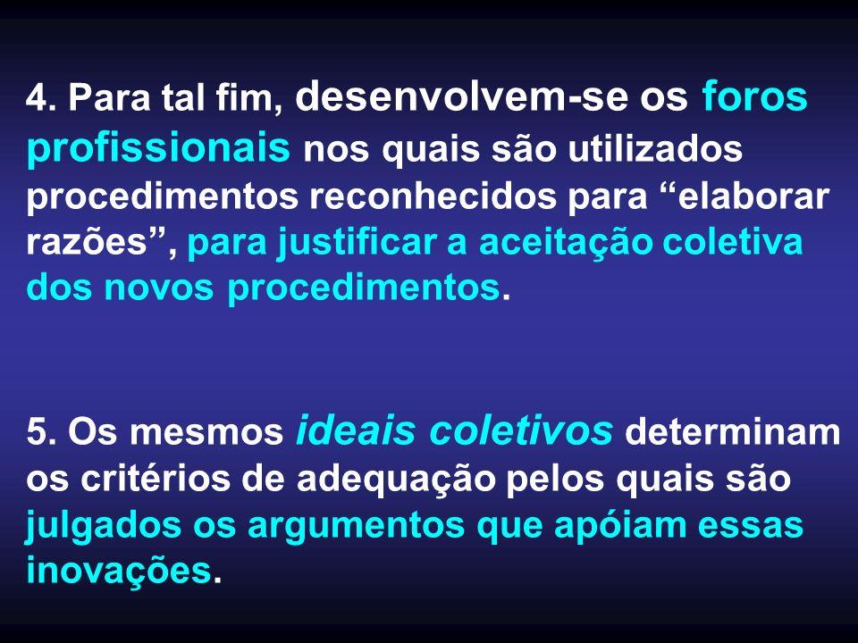 4. Para tal fim, desenvolvem-se os foros profissionais nos quais são utilizados procedimentos reconhecidos para elaborar razões, para justificar a ace