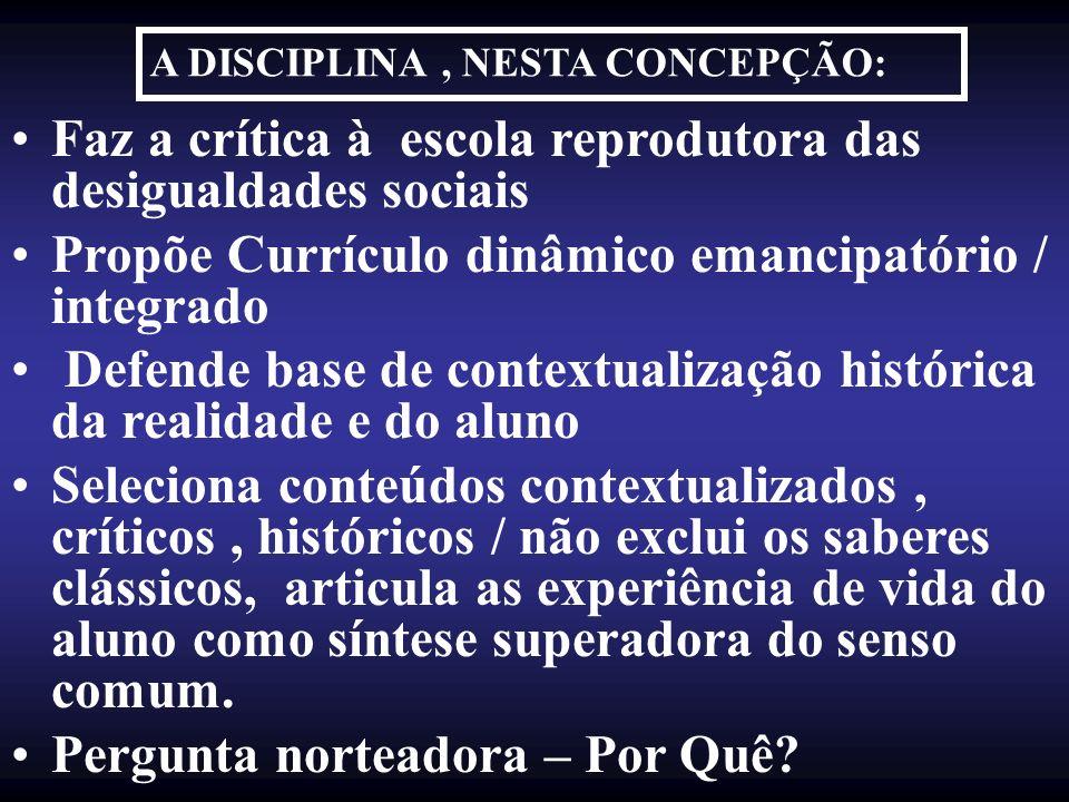 Faz a crítica à escola reprodutora das desigualdades sociais Propõe Currículo dinâmico emancipatório / integrado Defende base de contextualização hist