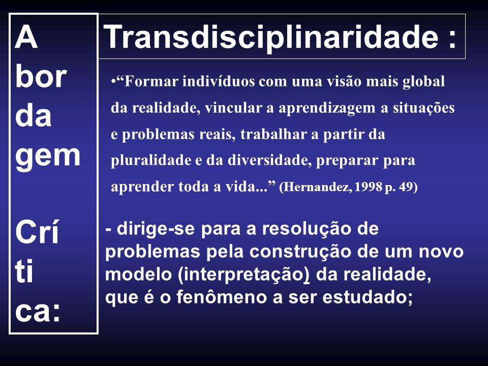 Transdisciplinaridade : A bor da gem Crí ti ca: Formar indivíduos com uma visão mais global da realidade, vincular a aprendizagem a situações e proble