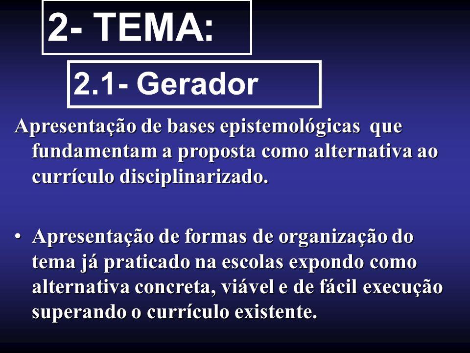 2- TEMA: 2.1- Gerador Apresentação de bases epistemológicas que fundamentam a proposta como alternativa ao currículo disciplinarizado. Apresentação de