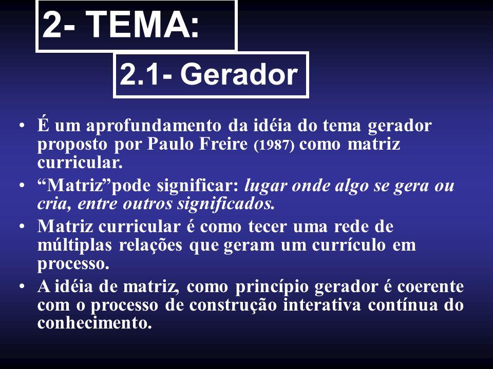 2- TEMA: 2.1- Gerador É um aprofundamento da idéia do tema gerador proposto por Paulo Freire (1987) como matriz curricular. Matrizpode significar: lug