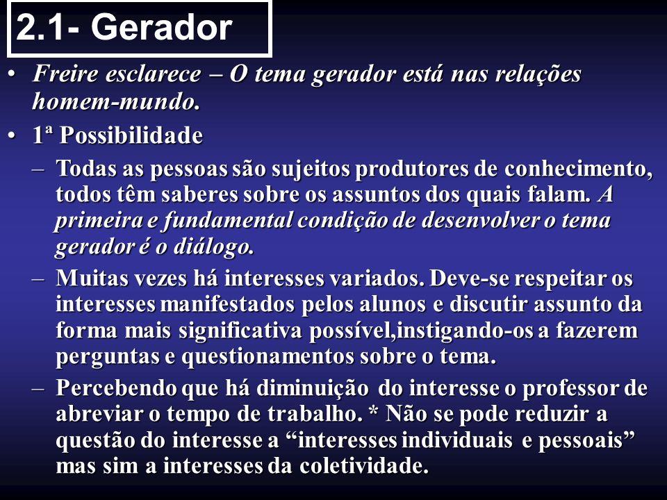 2.1- Gerador Freire esclarece – O tema gerador está nas relações homem-mundo.Freire esclarece – O tema gerador está nas relações homem-mundo. 1ª Possi