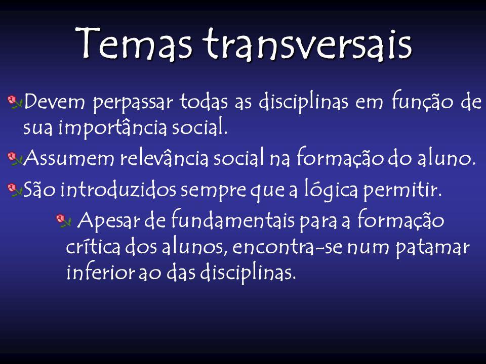 Temas transversais Devem perpassar todas as disciplinas em função de sua importância social. Assumem relevância social na formação do aluno. São intro
