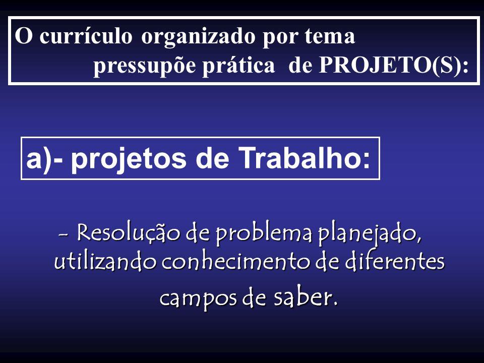 O currículo organizado por tema pressupõe prática de PROJETO(S): a)- projetos de Trabalho: -Resolução de problema planejado, utilizando conhecimento d