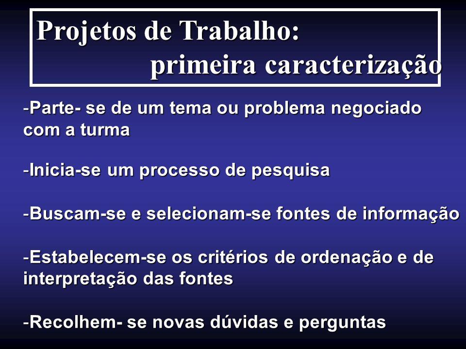 Projetos de Trabalho: primeira caracterização primeira caracterização -Parte- se de um tema ou problema negociado com a turma -Inicia-se um processo d