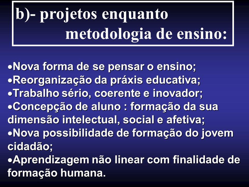 b)- projetos enquanto metodologia de ensino: Nova forma de se pensar o ensino; Nova forma de se pensar o ensino; Reorganização da práxis educativa; Re