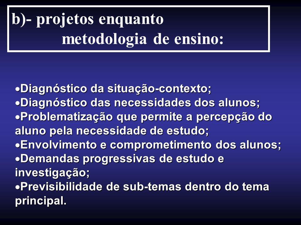 b)- projetos enquanto metodologia de ensino: Diagnóstico da situação-contexto; Diagnóstico da situação-contexto; Diagnóstico das necessidades dos alun