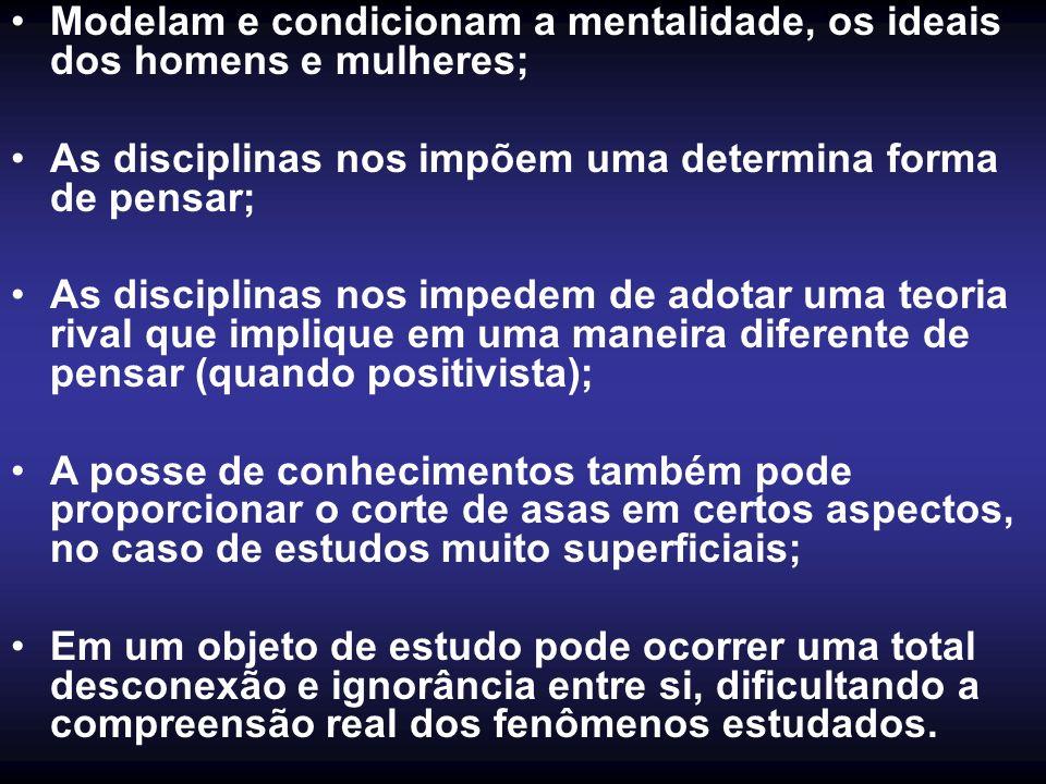 Modelam e condicionam a mentalidade, os ideais dos homens e mulheres; As disciplinas nos impõem uma determina forma de pensar; As disciplinas nos impe