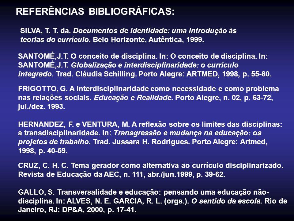 REFERÊNCIAS BIBLIOGRÁFICAS: SILVA, T. T. da. Documentos de identidade: uma introdução às teorias do currículo. Belo Horizonte, Autêntica, 1999. SANTOM