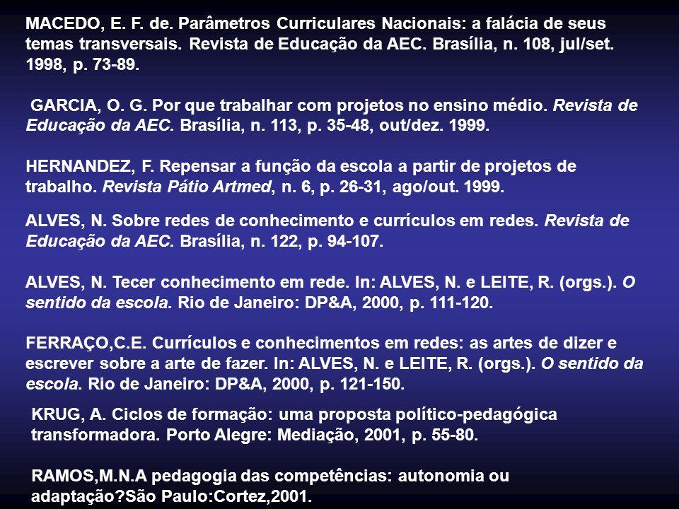 MACEDO, E. F. de. Parâmetros Curriculares Nacionais: a falácia de seus temas transversais. Revista de Educação da AEC. Brasília, n. 108, jul/set. 1998