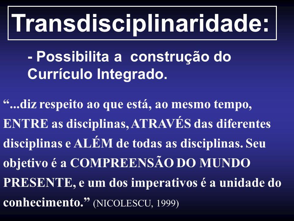 Transdisciplinaridade: - Possibilita a construção do Currículo Integrado....diz respeito ao que está, ao mesmo tempo, ENTRE as disciplinas, ATRAVÉS da