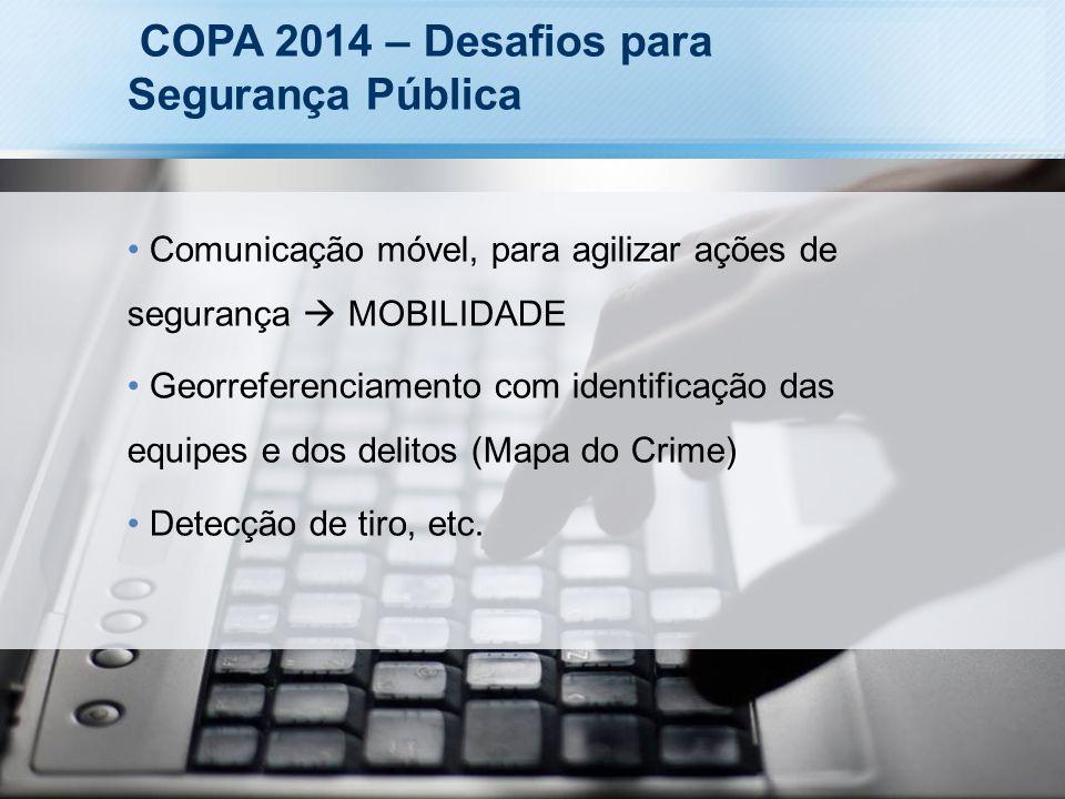 COPA 2014 – Desafios para Segurança Pública Comunicação móvel, para agilizar ações de segurança MOBILIDADE Georreferenciamento com identificação das e