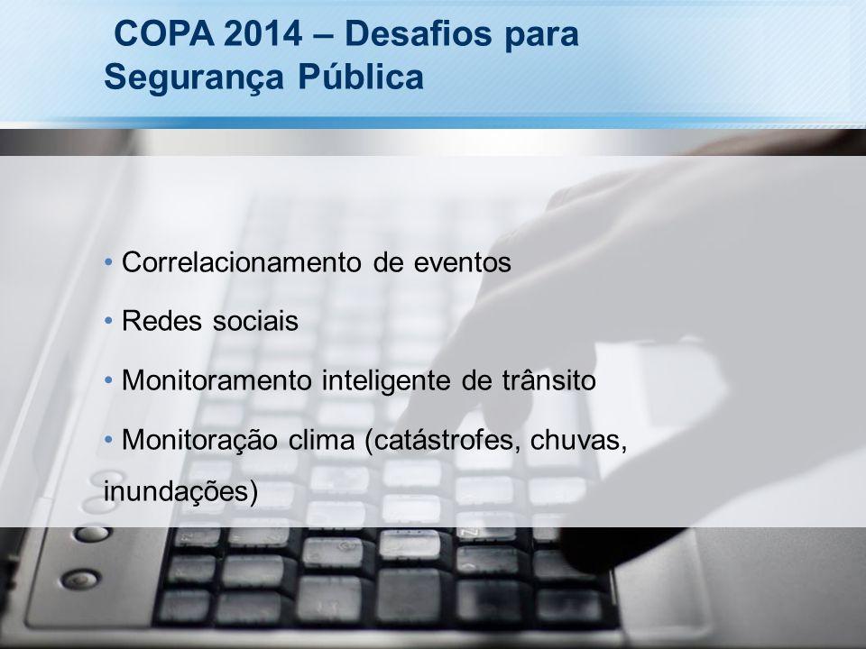 COPA 2014 – Desafios para Segurança Pública Correlacionamento de eventos Redes sociais Monitoramento inteligente de trânsito Monitoração clima (catást