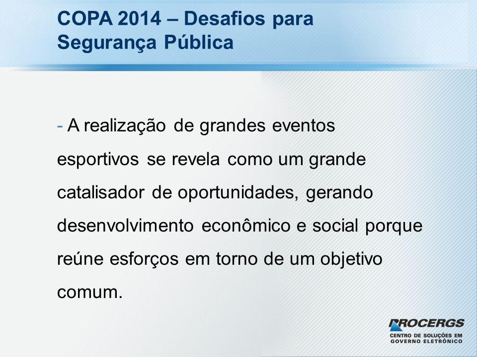 COPA 2014 – Desafios para Segurança Pública - A realização de grandes eventos esportivos se revela como um grande catalisador de oportunidades, gerand