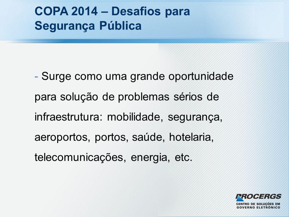 COPA 2014 – Desafios para Segurança Pública - Surge como uma grande oportunidade para solução de problemas sérios de infraestrutura: mobilidade, segur