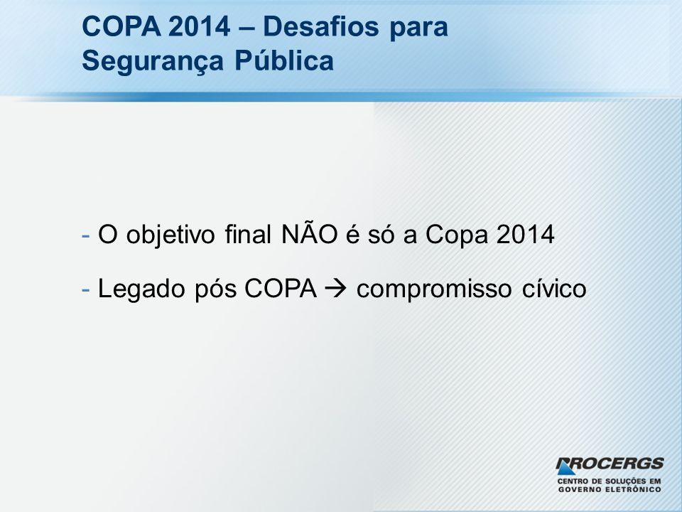 COPA 2014 – Desafios para Segurança Pública - O objetivo final NÃO é só a Copa 2014 - Legado pós COPA compromisso cívico