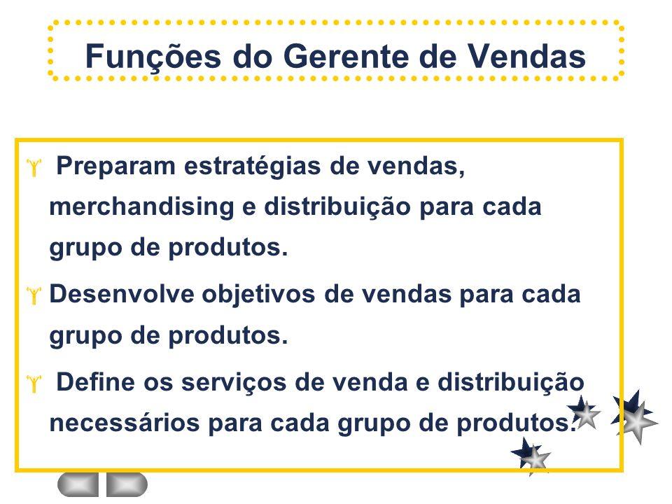 Preparam estratégias de vendas, merchandising e distribuição para cada grupo de produtos. Desenvolve objetivos de vendas para cada grupo de produtos.
