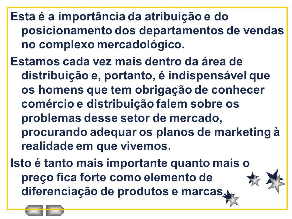 Esta é a importância da atribuição e do posicionamento dos departamentos de vendas no complexo mercadológico. Estamos cada vez mais dentro da área de