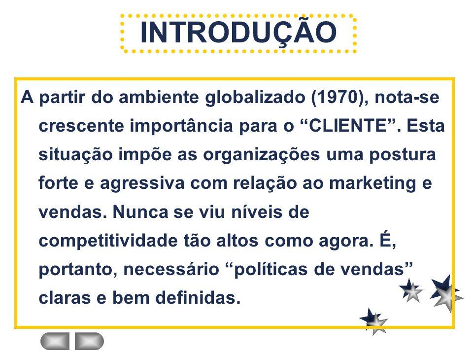 INTRODUÇÃO A partir do ambiente globalizado (1970), nota-se crescente importância para o CLIENTE. Esta situação impõe as organizações uma postura fort