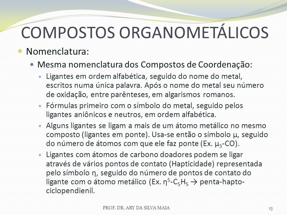Nomenclatura: Mesma nomenclatura dos Compostos de Coordenação: Ligantes em ordem alfabética, seguido do nome do metal, escritos numa única palavra. Ap