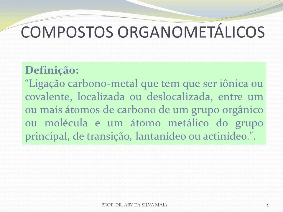 COMPOSTOS ORGANOMETÁLICOS 2PROF. DR. ARY DA SILVA MAIA Definição: Ligação carbono-metal que tem que ser iônica ou covalente, localizada ou deslocaliza