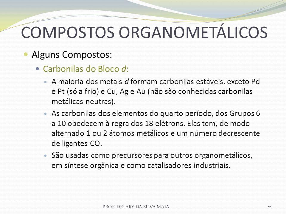 Alguns Compostos: Carbonilas do Bloco d: A maioria dos metais d formam carbonilas estáveis, exceto Pd e Pt (só a frio) e Cu, Ag e Au (não são conhecid