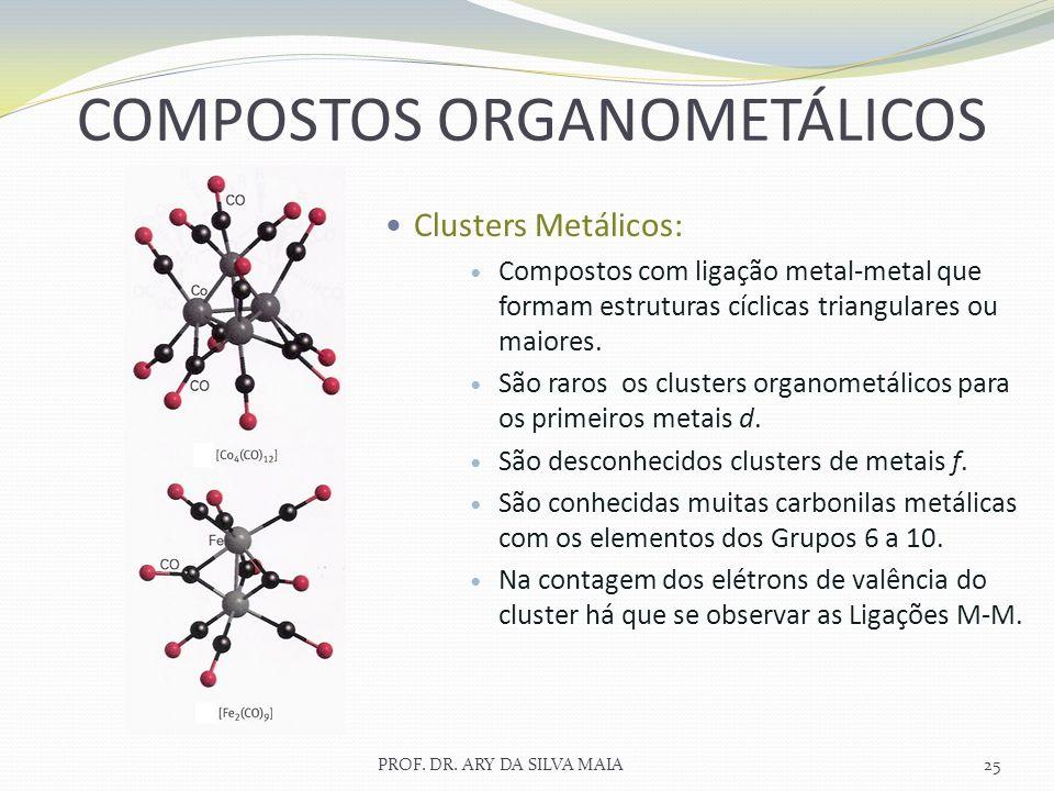 PROF. DR. ARY DA SILVA MAIA25 COMPOSTOS ORGANOMETÁLICOS Clusters Metálicos: Compostos com ligação metal-metal que formam estruturas cíclicas triangula