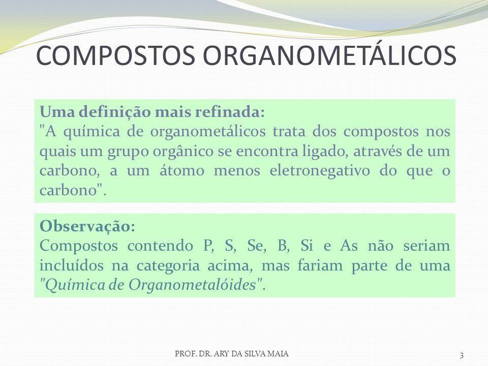 PROF. DR. ARY DA SILVA MAIA3 COMPOSTOS ORGANOMETÁLICOS Uma definição mais refinada: