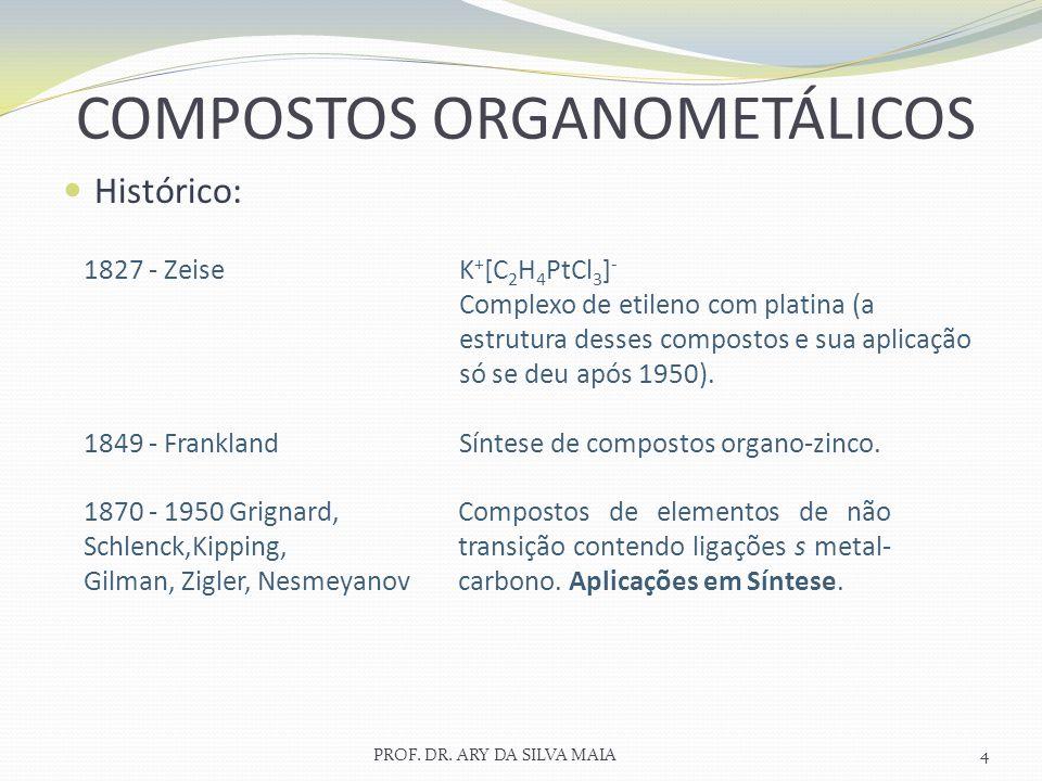 Histórico: PROF. DR. ARY DA SILVA MAIA4 COMPOSTOS ORGANOMETÁLICOS 1827 - Zeise 1849 - Frankland K + [C 2 H 4 PtCl 3 ] - Complexo de etileno com platin