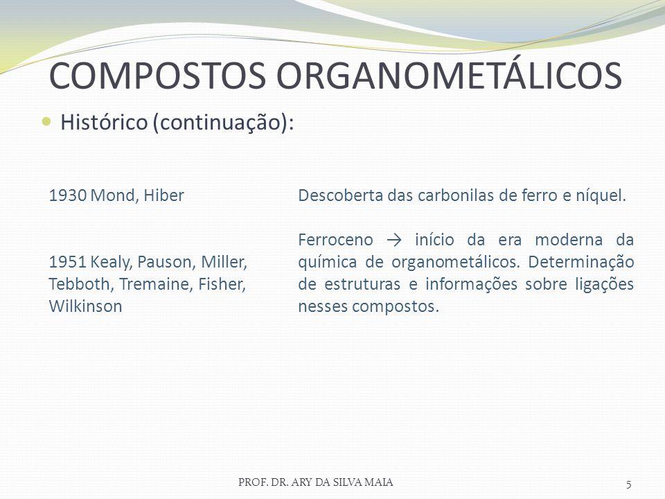Histórico (continuação): PROF. DR. ARY DA SILVA MAIA5 COMPOSTOS ORGANOMETÁLICOS 1930 Mond, Hiber 1951 Kealy, Pauson, Miller, Tebboth, Tremaine, Fisher