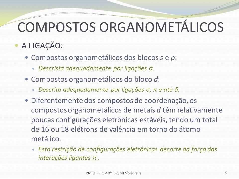 A LIGAÇÃO: Compostos organometálicos dos blocos s e p: Descrista adequadamente por ligações σ. Compostos organometálicos do bloco d: Descrita adequada