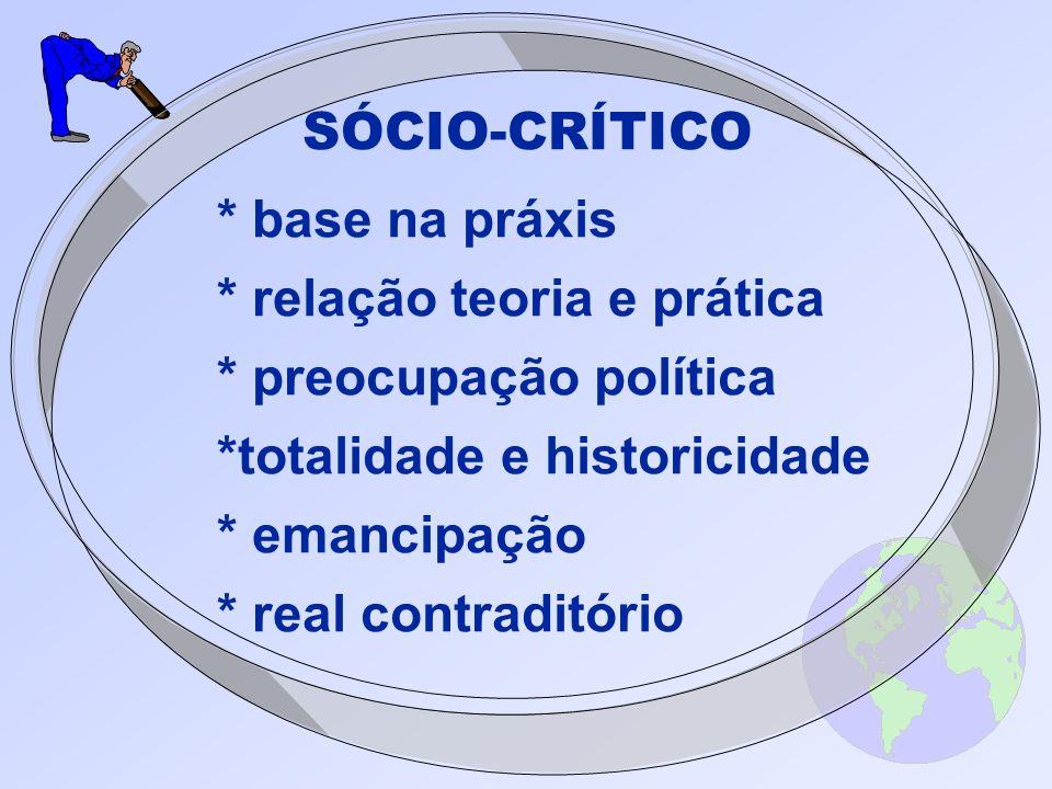 SÓCIO-CRÍTICO * base na práxis * relação teoria e prática * preocupação política *totalidade e historicidade * emancipação * real contraditório