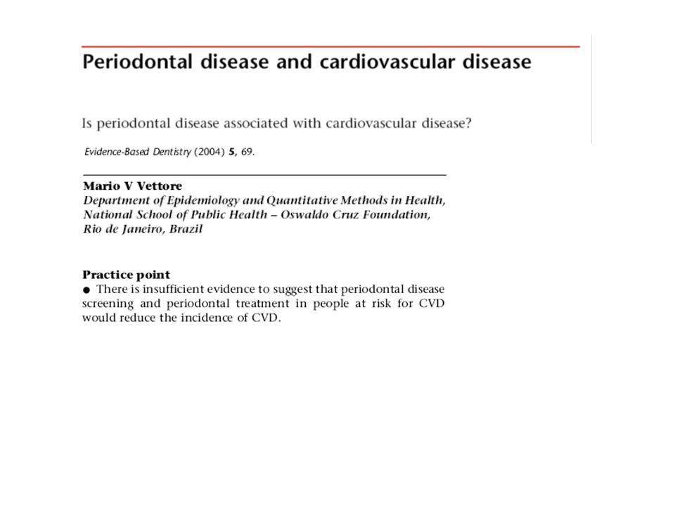 Riscos relativos Doença cerebrovascular e doença periodontal 6 estudos 3 encontraram associação Khader et al 2004.