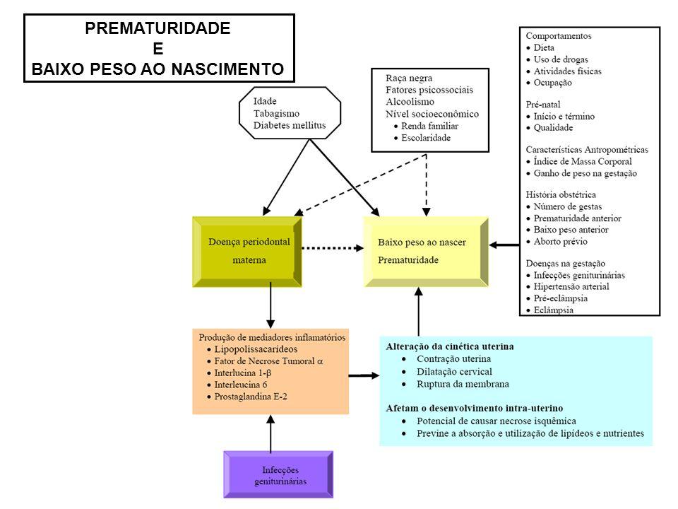 Doença Periodontal PGE 2 TNF- PGE 2 CIRCULAÇÃO SANGUÍNEA Placenta PGE 2 TNF- Afetam o desenvolvimento intra-uterino Potencial de causar necrose isquêmica em tumores Previne a absorção e utilização de lipídeos e nutrientes Beutler B, Cerami A.