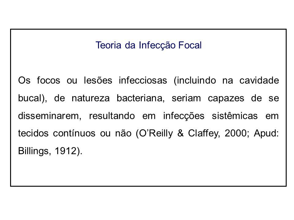 Teoria da Infecção Focal Os focos ou lesões infecciosas (incluindo na cavidade bucal), de natureza bacteriana, seriam capazes de se disseminarem, resultando em infecções sistêmicas em tecidos contínuos ou não (OReilly & Claffey, 2000; Apud: Billings, 1912).