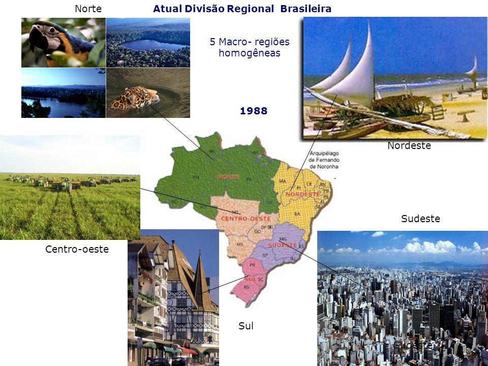 Atual Divisão Regional Brasileira Nordeste Centro-oeste Sul Sudeste 1988 Norte 5 Macro- regiões homogêneas Sudeste