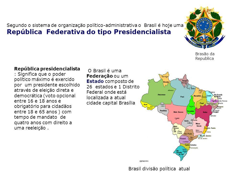 Segundo o sistema de organização político-administrativa o Brasil é hoje uma República Federativa do tipo Presidencialista República presidencialista