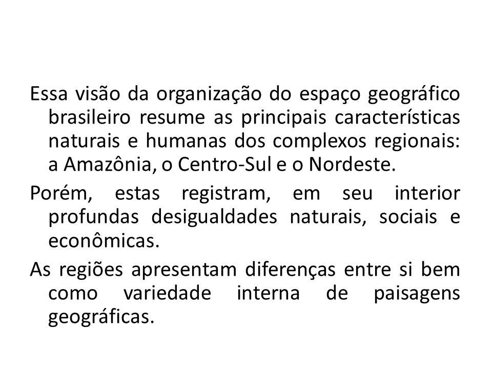 Essa visão da organização do espaço geográfico brasileiro resume as principais características naturais e humanas dos complexos regionais: a Amazônia,