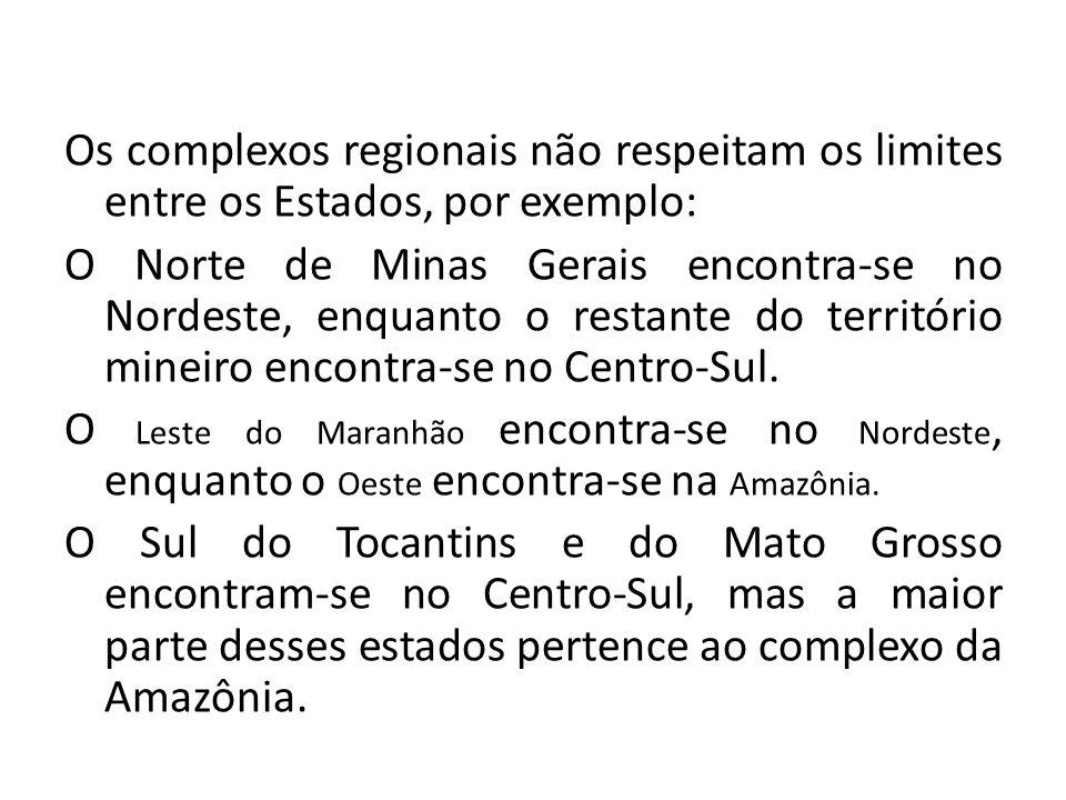 Os complexos regionais não respeitam os limites entre os Estados, por exemplo: O Norte de Minas Gerais encontra-se no Nordeste, enquanto o restante do