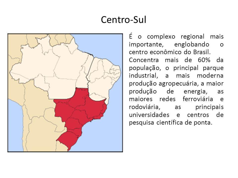 É o complexo regional mais importante, englobando o centro econômico do Brasil. Concentra mais de 60% da população, o principal parque industrial, a m