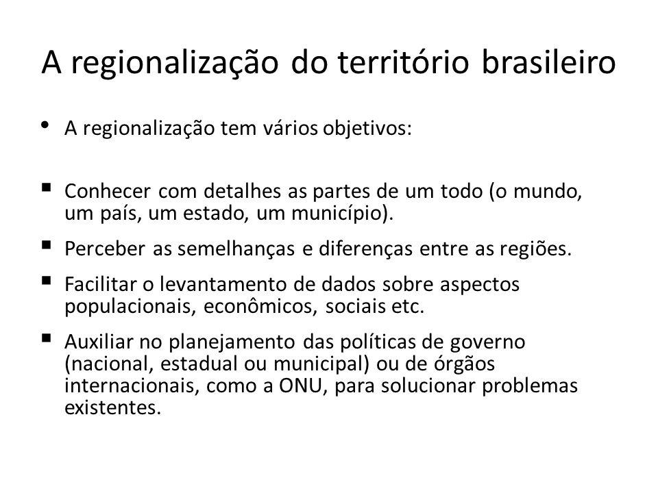 A regionalização do território brasileiro A regionalização tem vários objetivos: Conhecer com detalhes as partes de um todo (o mundo, um país, um esta