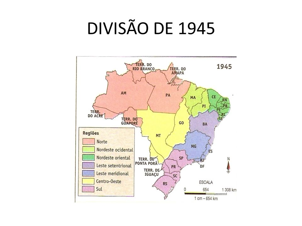 REGIÕES HOMOGÊNEAS Em 1969, elaborou um mapa adotando o critério de regiões homogêneas (critério mais abrangente, vai além dos aspectos naturais, envolvendo elementos sociais e econômicos) Criação da região Sudeste A região Leste desaparece