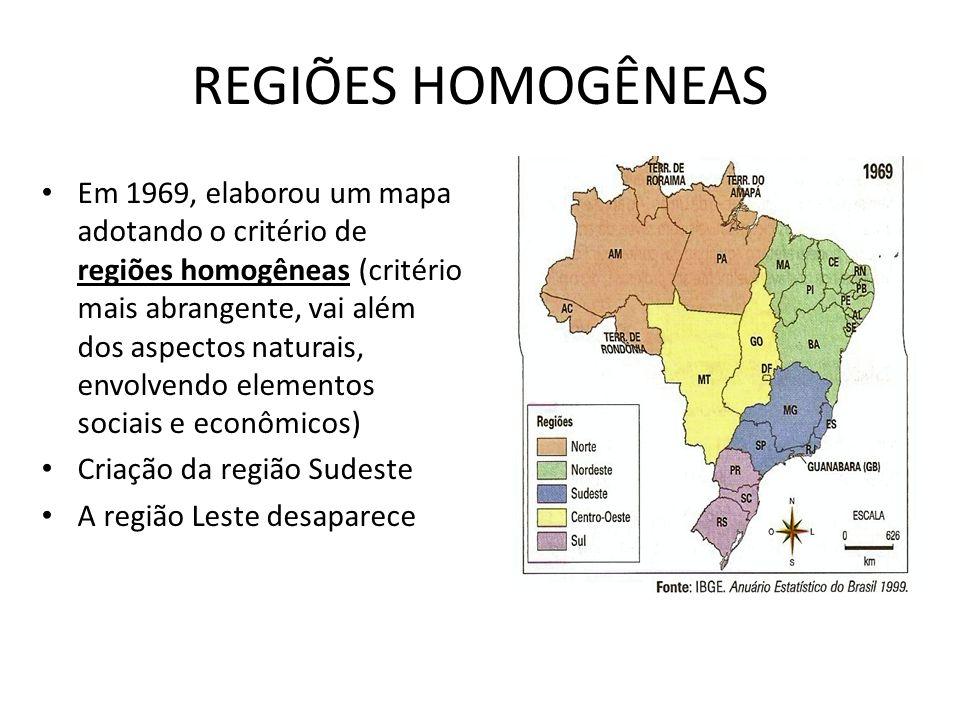REGIÕES HOMOGÊNEAS Em 1969, elaborou um mapa adotando o critério de regiões homogêneas (critério mais abrangente, vai além dos aspectos naturais, envo